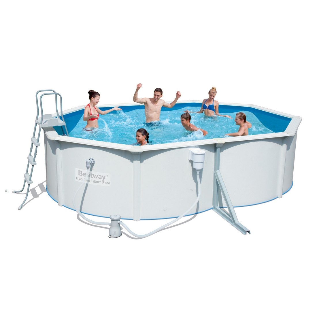 Стальной овальный бассейн Hydrium Oval Pool Set 500х360х120см, 16296л, фил-насос 3028л/ч, лестница, Bestway 56294 BW