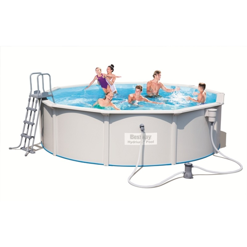 Стальной бассейн Hydrium Pool Set 460х120см, 17430л, фил.-насос 3028л/ч, лестница, подстилка, Bestway 56382 BW